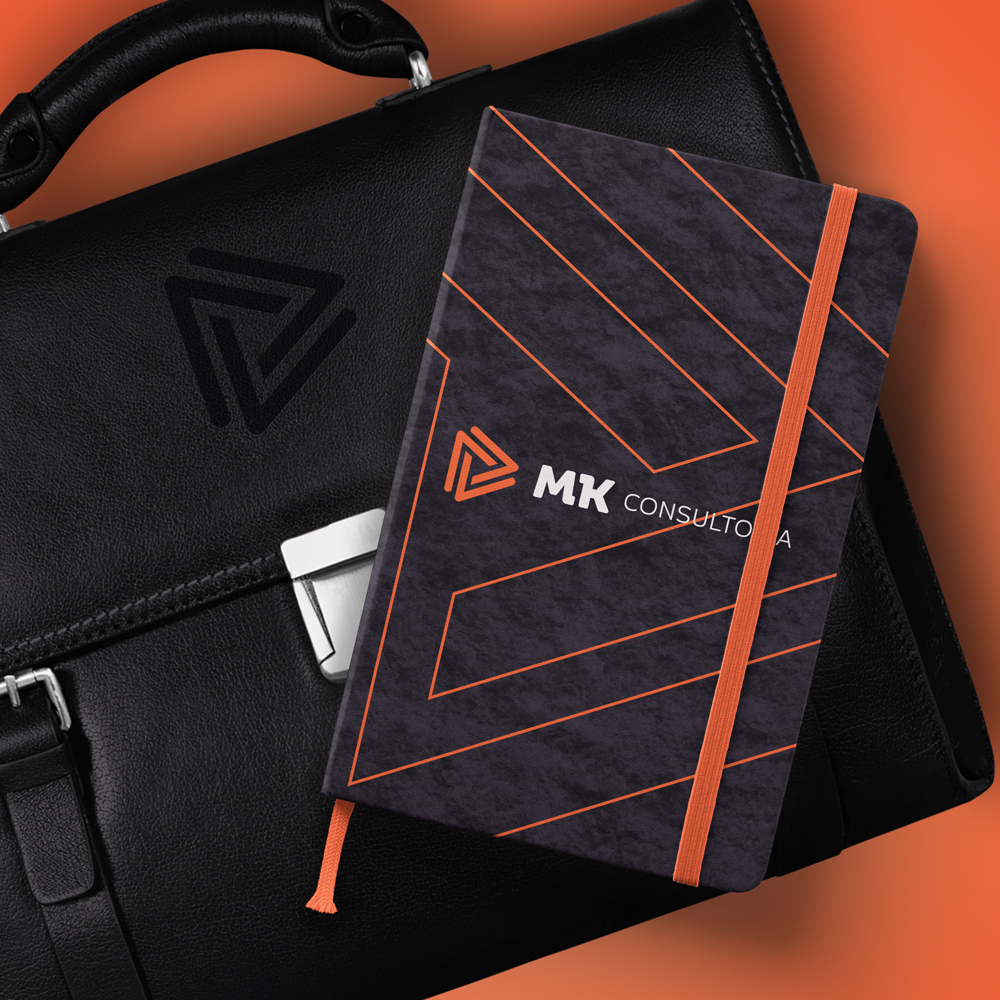 Caderno e pasta MK Consultoria